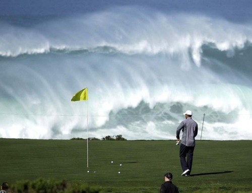Go with the flow – A golfer watching the waves